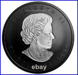 Canada 2020 50$ Rhodium-Plated Incuse Silver Maple Leaf 3 oz. Pure Silver Coin