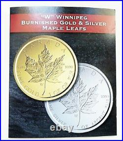 Canada 2020 W $50 Burnished Maple Leaf First Day of Issue 1oz Gold Silver Coin