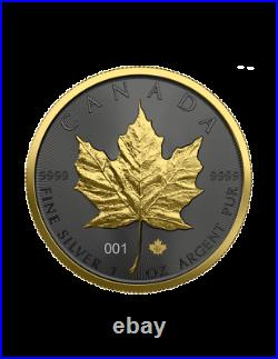 Canada 2021 5$ Maple Leaf Golden Ring 1 Oz Silver Coin
