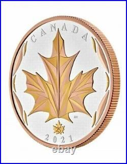 Canada 2021 $50 Maple Leaf in Motion Yellow & Rose Pure Silver Gold Plated Coin