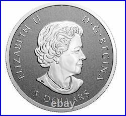 Canada $5 Five Dollars 1 Oz Silver Coin, Maple Leaf, Arboreal Emblem, 2021