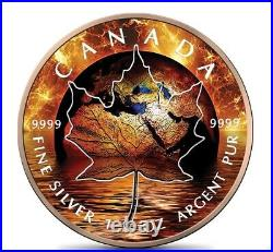 Canada Maple Leaf 1 Oz Silver 2021 Global Warming 5$ Silver Coin 24k Rose Gold
