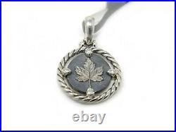 David Yurman Sterling Silver and Diamond Canada / Maple Leaf Charm Enhancer NWT