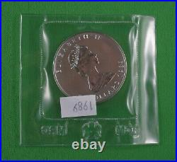 Five 1 OZ 1989.9999 Pure Silver Maple Leaf Coins Sealed
