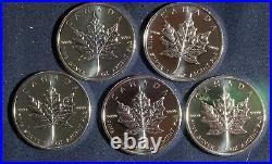 Five (5) 2010 1 Oz Silver Maple Leaf Coins. 9999 Silver Lot 291120