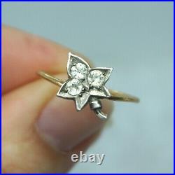 Goergian Victorian Vintage 14k Gold Silver Paste Diamond Maple Leaf Ring sz7.5