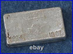 Johnson Matthey Canada Maple Leaf. 999 Silver 10 Oz Bar Old Poured Type B6964