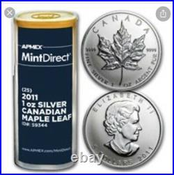 Just Opened 2011 Silver Monster Box Maple Leafs, Sell Unopened Tubes Of 25