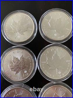 LOT of (20) 1oz MAPLE LEAF coins in CAPSULES 2015 2016 tube roll CANADA silver