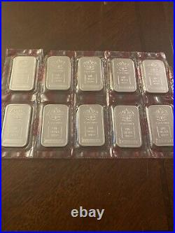Lot of 10 Consecutie 1981 Engelhard'Red Seal' Maple Leaf 1 oz. 999 Silver Bar