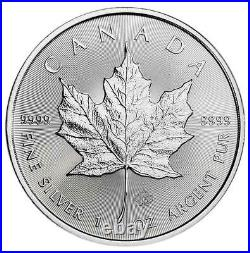 Lot of 25 2021 $5 Silver Canadian Maple Leaf 1 oz Brilliant Uncirculated