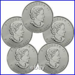 Lot of 5 2021 Canada 1 oz Silver Maple Leaf $5 Coins GEM BU