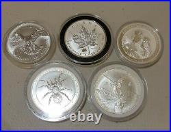 Lot of 5 Various 1 oz 999 Silver MAPLE LEAF PRIVY / LIBERTAD / KOOKABURRA