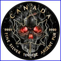 MAPLE LEAF SMOKED SKULL 2018 1 oz Pure Silver Coin Black Ruthenium and Color