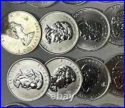 Mixed Date Canada $5 1 Oz. 9999 Silver Maple Leafs, Mixed Rolls Of 25, 25 Oz