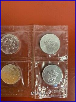 Rare 1997 Canadian Maple Leaf Silver Coins Bu In Royal Canadian Mint Pouch X10