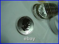 Roll of 25 Silver 2009 Canadian 1 Oz Maple Leaf Bullion. 9999 BU Coins