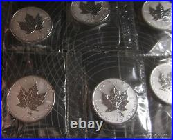 Set of 12-2004 Silver Maple Leaf Coins with Zodiac Privy Marks 1 oz. 9999 Silver