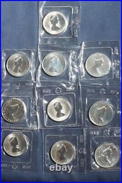 Ten 1988-1989 $5 Silver Maple Leaf Rcm Ogp 1 Oz 0.9999 Fine Silver Lot 240932