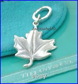 Tiffany & Co Maple Leaf Love Charm Oval Clasp Sterling Silver Gift w Pouch 2157E
