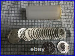 Tube Of 25x 1oz 2011 Maple Leaf Silver Coins Bullion