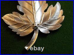 Vintage 1980's Authentic Tiffany Co Sterling Silver Maple Leaf Brooch Pin 9f 28